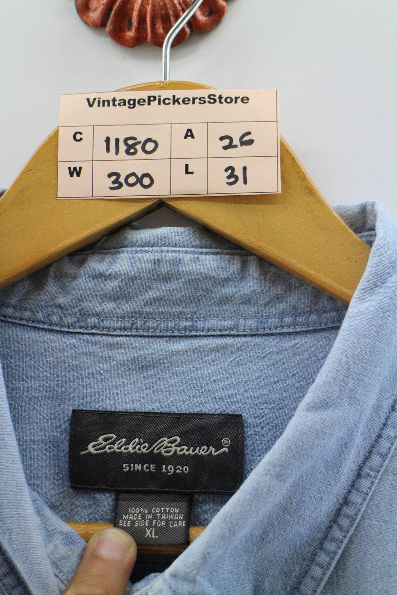 5007bd873b8 EDDIE BAUER Denim Shirt Oversize XLarge Vintage 90s Eddie