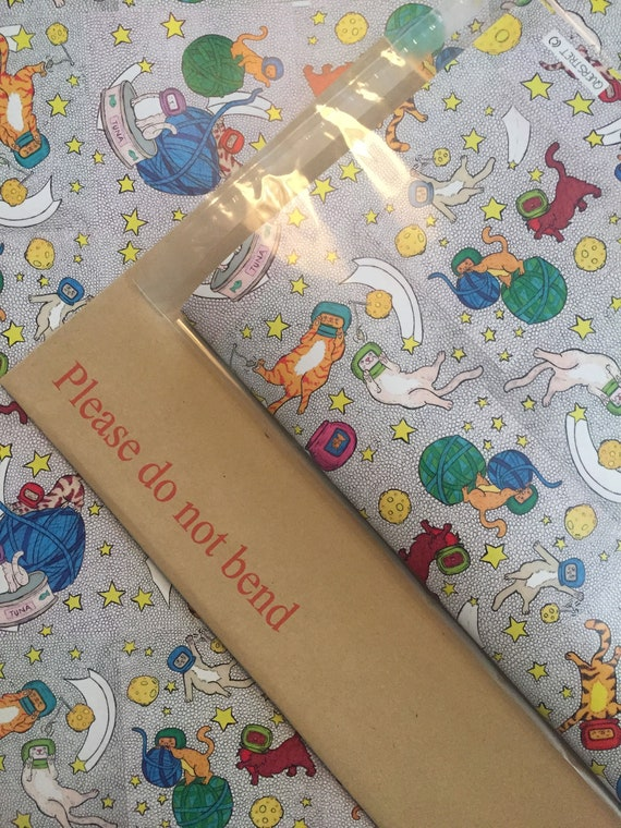 420mm x 594mm sheet Cats in Space wrapping paper x3