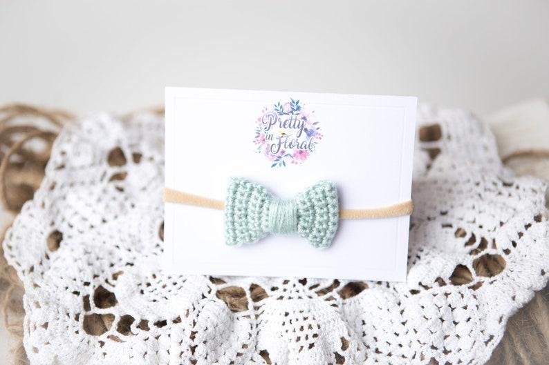 Crochet bows with a soft nylon headband
