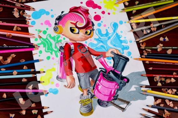 Impression Octoling Boy Qualité De La Peau De Limprimé A3 Quality Splatoon 2 Nintendo Commutateur Poster Sheet Splatoon 2