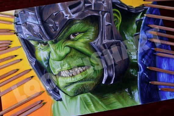 Hulk Portrait Quality Print From Thor Ragnarok A3 Impresion Etsy
