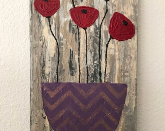 Original abstract art, red poppies and a vase, chevron pattern pot, heavily textured painting, palette knife, abstract flowers, home decor