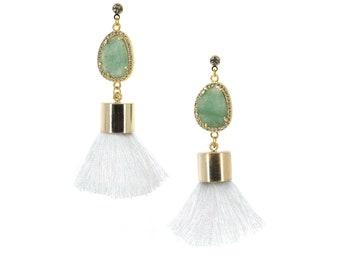 White Tassel Earrings with Green Aventurine | Komorebi | bizu ビーズ | Handmade Jewelry