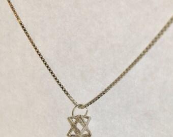 Tiny Little Merkaba Silver Pendant Sterling Silver, sacred geometry necklace    Silver Pendand Merkaba    Silver 925 - M1