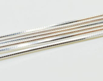 Necklace Sterling Silver Chain, Pure Silver 925- Cut Snake 8 sides 1.0mm  - 16,18,20,24,30 inches CSED-025