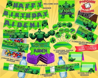 Hulk Printable Set Digital Superheroes Birthday Party Decorations Decor Avengers Superfriends Banner Invitations
