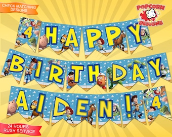 Toy Story Banner Digital Printable Birthday Party Decorations Decor Editable DIY Favors Design Bunting Garland Buzz Woody