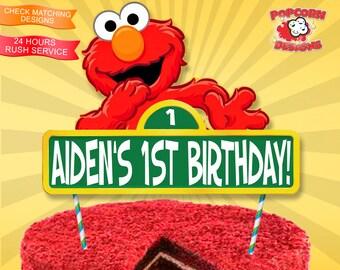 Elmo Centerpiece Digital Printable Birthday Party Decorations Decor Editable Sesame Street DIY Cake Topper Props Prop