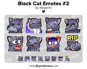 Cute Chibi Kawaii Black Cat Gun, Cozy, SIP, Cool, POG, LUL, Shocked and Rip Emotes for Twitch, Discord or Youtube