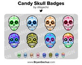 Candy Skull (Dia de los Muertos) Subscriber - Loyalty - Bit Badges for Twitch, Discord or Youtube | Halloween