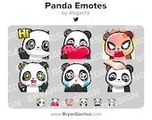 Panda Wave, Love, Rage, HYPE, Sad and Pat Emotes for Twitch, Discord or Youtube