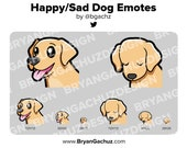 Happy/Sad Dog Emotes for Twitch, Discord or Youtube (Color Customization Available)