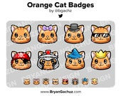 Orange Cat Subscriber - Loyalty - Bit Badges for Twitch, Discord or Youtube