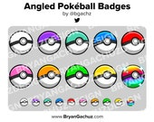 Angled Pokeball Subscriber - Loyalty - Bit Badges - Channel Points for Twitch, Discord or Youtube