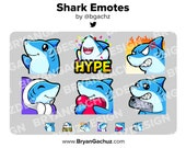Chibi Kawaii Shark Emotes for Twitch, Discord or Youtube
