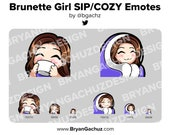 Cute Chibi Brunette/Brown Hair Girl SIP and COZY Emotes for Twitch, Discord or Youtube