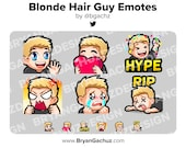 Wave, Love, Hype, Rage, Sad and RIP Blonde Hair Guy Emotes for Twitch, Discord or Youtube