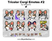 Tricolor Corgi Gun, Cozy, SIP, Cool, POG, LUL, Shocked and Rip Emotes for Twitch, Discord or Youtube