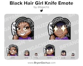 Cute Chibi Black Hair Dark Skin Knife Emote for Twitch, Discord or Youtube