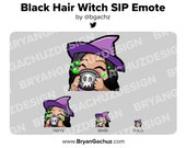 Cute Chibi Witch Black Hair, Brown Skin Emote for Twitch, Discord or Youtube | Halloween