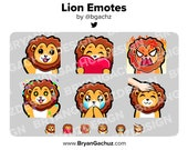 Lion Wave, Love, Rage, HYPE, Sad and Pat Emotes for Twitch, Discord or Youtube
