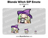 Cute Chibi Witch Blonde Emote for Twitch, Discord or Youtube | Halloween