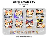 Corgi Gun, Cozy, SIP, Cool, POG, LUL, Shocked and Rip Emotes for Twitch, Discord or Youtube