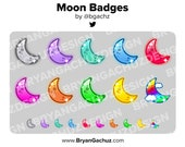 Colorful Moon Subscriber - Loyalty - Bit Badges for Twitch, Discord or Youtube