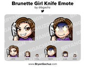 Cute Chibi Brunette/Brown Hair Knife Emote for Twitch, Discord or Youtube
