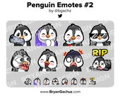 Penguin Gun, Cozy, SIP, Cool, POG, LUL, Shocked and Rip Emotes for Twitch, Discord or Youtube
