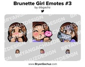 Cute Chibi Shy, Kiss and Gun Brunette/Brown Hair Brown Skin Girl Emotes for Twitch, Discord or Youtube