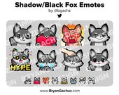Shadowfox / Black Fox Wave, Love, Rage, Smirk, HYPE, Sad, Pat and Shrug Emotes for Twitch, Discord or Youtube