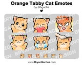 Cute Chibi Kawaii Orange Tabby Cat Wave, Love, Rage, HYPE, Sad and Pat Emotes for Twitch, Discord or Youtube