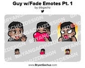 Wave, Love and Rage Dark Skin Guy with Fade Emotes for Twitch, Discord or Youtube