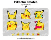 Pokemon Pikachu Emote Pack for Twitch, Discord or Youtube