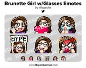 Cute Chibi Wave, Love, Sad, LUL, Hype and Rage Brunette Girl with Glasses Emotes for Twitch, Discord or Youtube