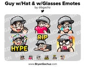 Wave, Love, Sad, Hype, RIP and Rage Guy with Hat and with Glasses Emotes for Twitch, Discord or Youtube