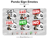 Panda GG, Raid, Ban, Fail, Yes and No Sign Emotes for Twitch, Discord or Youtube