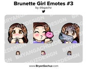 Cute Chibi Shy, Kiss and Gun Brunette/Brown Hair Girl Emotes for Twitch, Discord or Youtube