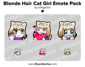 Personalizable Blonde Hair Cat Girl Emote Pack for Twitch, Discord or Youtube