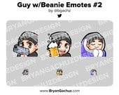 Gun, Cheers and Cozy Guy with Beanie Emotes for Twitch, Discord or Youtube