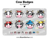 Cute Kawaii Cow Subscriber - Loyalty - Bit Badges - Channel Points for Twitch, Discord or Youtube