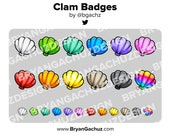 Colorful Clam / Seashell Subscriber - Loyalty - Bit Badges - Channel Points for Twitch, Discord or Youtube