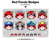 Red Panda Subscriber - Loyalty - Bit Badges for Twitch, Discord or Youtube