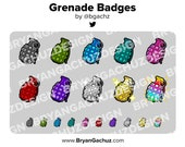 Colorful Grenade Subscriber - Loyalty - Bit Badges - Channel Points for Twitch, Discord or Youtube