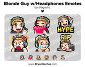 Wave, Love, Hype, Rage, Sad and RIP Blonde Hair Guy with Headphones Emotes for Twitch, Discord or Youtube