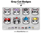 Gray Cat Subscriber - Loyalty - Bit Badges for Twitch, Discord or Youtube