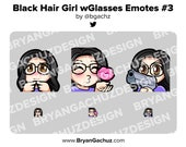 Cute Chibi Shy, Kiss and Gun Black Hair Girl with Glasses Emotes for Twitch, Discord or Youtube