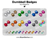 Colorful Dumbbell Subscriber - Loyalty - Bit Badges - Channel Points for Twitch, Discord or Youtube