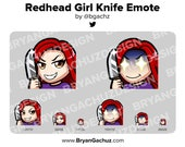 Cute Chibi Redhead/Red Hair Knife Emote for Twitch, Discord or Youtube